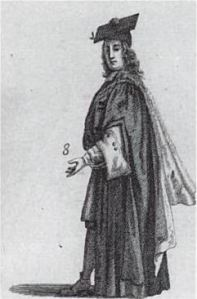 A Master of Arts in 1690, from David Loggan's Cantabrigia Illustrata. The dress of an MA remains essentially unchanged.