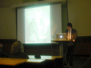 Me delivering my paper on Sir Thomas Tresham at the Visions of Enchantment Conference, 18 March 2014