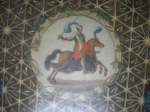 A cantering knight on the ceiling of Walpole's library