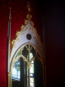 A wall cabinet where Walpole once kept John Dee's obsidian scrying stone