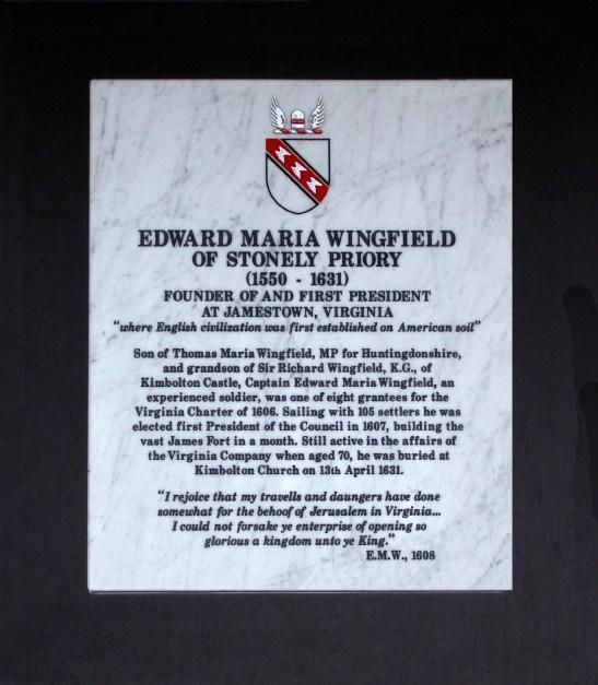 Memorial to Edward Maria Wingfield, Kimbolton parish church